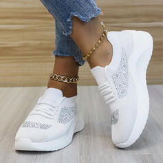 Women's Cloth Mesh Flat Heel Flats Round Toe Sneakers With Lace-up Splice Color shoes