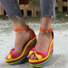 Women's Leatherette Wedge Heel Sandals Platform Wedges Peep Toe Heels With Bowknot Buckle Hollow-out shoes