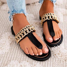 Women's PU Flat Heel Sandals Flats Peep Toe Flip-Flops Slippers With Chain Solid Color shoes