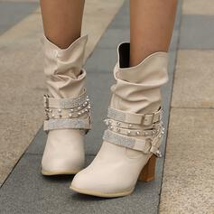 Women's Leatherette Chunky Heel Mid-Calf Boots Pointed Toe With Rhinestone Rivet Buckle Solid Color shoes