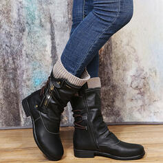 Women's Leatherette Chunky Heel Mid-Calf Boots Round Toe With Solid Color shoes