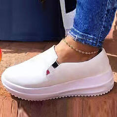 Women's PU Flat Heel Flats Platform Low Top Round Toe Loafers Slip On With Elastic Band Solid Color shoes