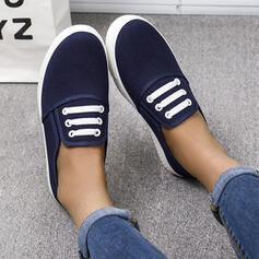 Women's Canvas Flat Heel Flats Round Toe Slip On Loafers & Slip-Ons With Splice Color shoes