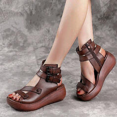 Women's Real Leather Wedge Heel Sandals Platform Wedges Peep Toe Heels With Zipper Hollow-out shoes