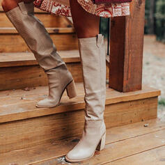 Women's Leatherette Chunky Heel Over The Knee Boots Riding Boots Round Toe With Animal Print Ruched shoes
