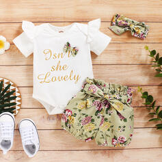 3-pieces Baby Girl Letter Print Cotton Set
