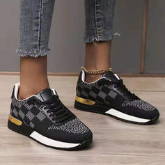 Women's Cloth Mesh Flat Heel Flats Low Top Sneakers With Lace-up shoes