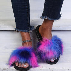Women's Suede Flat Heel Sandals Flats Peep Toe Slippers With Hollow-out Faux-Fur shoes