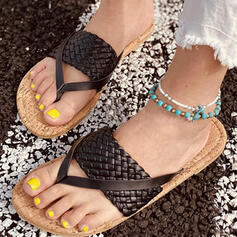 Women's PU Flat Heel Sandals Peep Toe Slippers With Hollow-out Bandage shoes