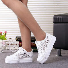 Women's Mesh Flat Heel Flats Round Toe With Lace-up Hollow-out shoes