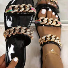 Women's PVC Flat Heel Sandals Flats Peep Toe Slippers Round Toe With Chain shoes