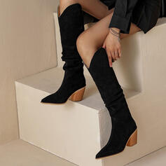 Women's Suede Chunky Heel Closed Toe Boots Mid-Calf Boots Pointed Toe Winter Boots With Houndstooth shoes
