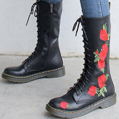 Women's Real Leather Chunky Heel Mid-Calf Boots Round Toe With Lace-up Floral Print shoes