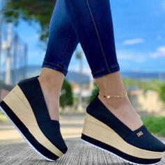 Women's Cloth Mesh Wedge Heel Sandals Platform Wedges Round Toe With Solid Color shoes