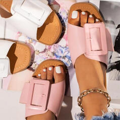 Women's PU Flat Heel Sandals Wedges Peep Toe Slippers Heels Round Toe With Buckle Solid Color shoes