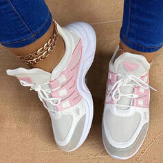 Women's Cloth Mesh Flat Heel Flats Low Top Round Toe Sneakers With Lace-up Splice Color shoes