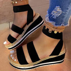 Women's Leatherette Wedge Heel Sandals Platform Wedges Peep Toe With Split Joint shoes