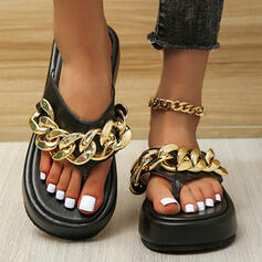 Women's PU Flat Heel Sandals Platform Peep Toe Slippers With Chain Solid Color shoes