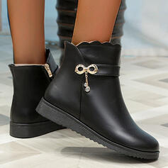 Women's PU Wedge Heel Boots Ankle Boots Round Toe With Zipper Solid Color shoes