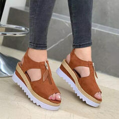 Women's Cloth Flat Heel Flats Round Toe With Zipper Hollow-out Solid Color shoes