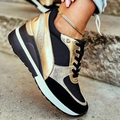 Women's PU Others Flats Low Top Round Toe Sneakers With Lace-up Splice Color shoes