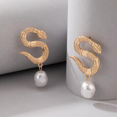 Attractive Charming Artistic Delicate Alloy With Pearls Snake Design Women's Ladies' Earrings
