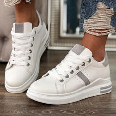 Women's PU Flat Heel Flats Round Toe Sneakers With Lace-up shoes