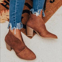 Women's Suede Chunky Heel Boots Ankle Boots With Solid Color shoes