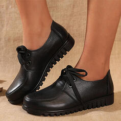 Women's Real Leather Flat Heel Flats Low Top Round Toe Loafers With Lace-up Solid Color shoes