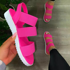 Women's PU Wedge Heel Sandals Flats Wedges Peep Toe With Hollow-out Elastic Band Solid Color shoes