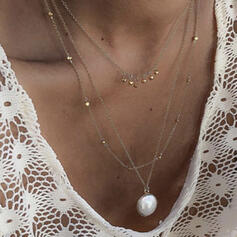 Attractive Charming Pretty Elegant Alloy With Pearls Necklaces 3 PCS