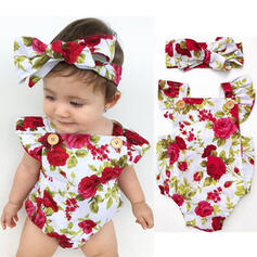 2-pieces Baby Girl Bowknot Floral Print Cotton Set