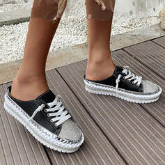 Women's PU Flat Heel Flats Round Toe Espadrille With Lace-up shoes