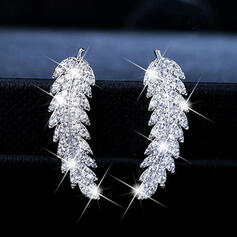 Charming Pretty Artistic Romantic Alloy With Rhinestone Leaf Women's Earrings