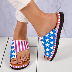 Women's PU Flat Heel Sandals Flats Peep Toe Slippers Toe Ring Round Toe With Splice Color Striped shoes