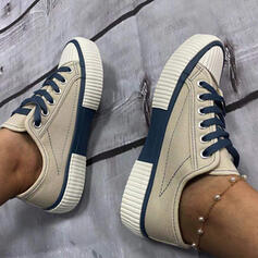 Women's Canvas Flat Heel Flats Espadrille Sneakers With Lace-up shoes