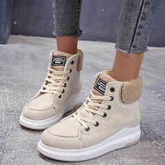 Women's Suede Low Heel Martin Boots Round Toe With Buckle Lace-up Solid Color shoes