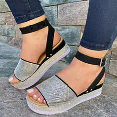 Women's PU Wedge Heel Sandals Platform Peep Toe With Rhinestone Hollow-out shoes