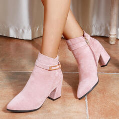 Women's PU Chunky Heel Ankle Boots Low Top Pointed Toe With Buckle Zipper Others Solid Color shoes