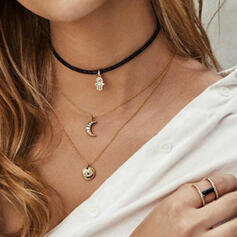Attractive Charming Pretty Elegant Alloy With Moon Necklaces 3 PCS