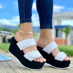Women's PU Wedge Heel Sandals Platform Wedges Peep Toe Slippers Heels With Buckle Hollow-out shoes