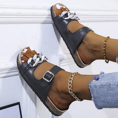Women's PU Flat Heel Sandals Peep Toe Slippers With Buckle Hollow-out shoes