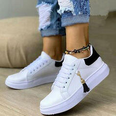 Women's PU Flat Heel Flats Round Toe Sneakers With Lace-up Tassel shoes