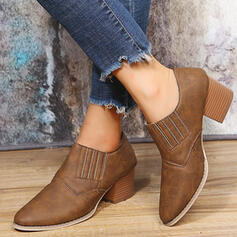 Women's Leatherette Chunky Heel Ankle Boots Pointed Toe With Solid Color shoes