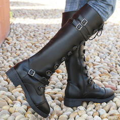 Women's PU Chunky Heel Mid-Calf Boots Round Toe With Buckle Lace-up Solid Color shoes