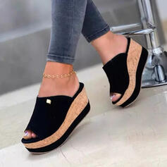 Women's Denim Wedge Heel Sandals Wedges Peep Toe Slippers With Solid Color shoes
