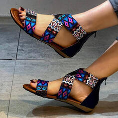 Women's Cloth Flat Heel Sandals Peep Toe With Hollow-out Splice Color shoes