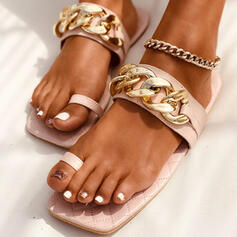Women's PU Flat Heel Sandals Flats Peep Toe Slippers Toe Ring Round Toe With Chain Solid Color shoes