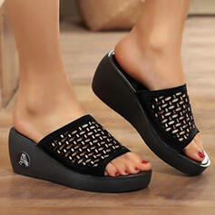 Women's PU Wedge Heel Sandals Wedges Peep Toe Slippers Heels Round Toe With Hollow-out Solid Color shoes