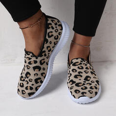 Women's Suede Flat Heel Flats Round Toe Sneakers Slip On With Animal Print shoes